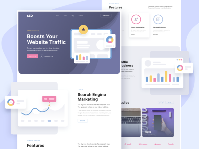 SEO Agency Responsive Landing Page template responsive page landing xd sketch figma ux ui agency seo