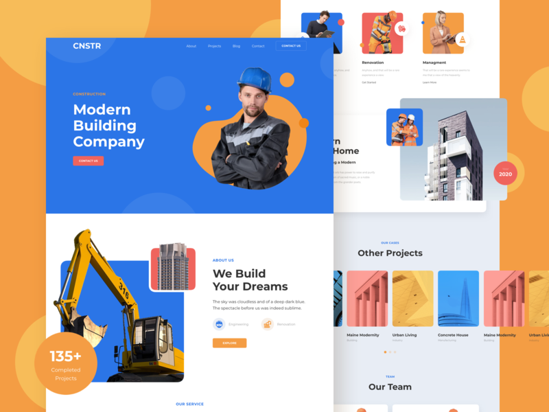 Construction Responsive Landing Page design template responsive page landing xd sketch figma ux ui construction