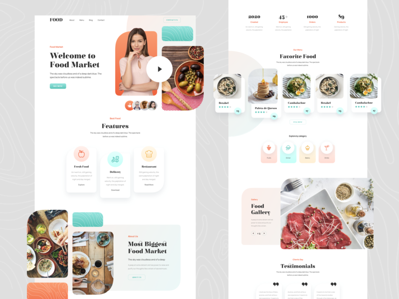 Food Responsive Landing Page template responsive page landing xd sketch figma ux ui restaurant cafe bar chef market food