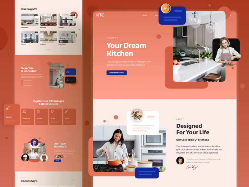 Kitchen Responsive Landing Page template page responsive landing xd sketch figma ux ui agency interior kitchen