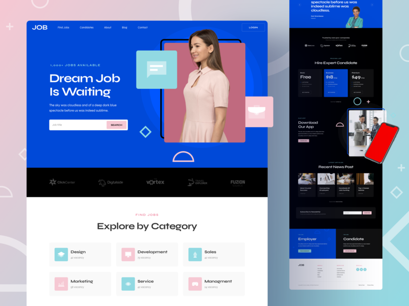 Job Responsive Landing Page design page responsive landing xd sketch figma ux ui board portal job