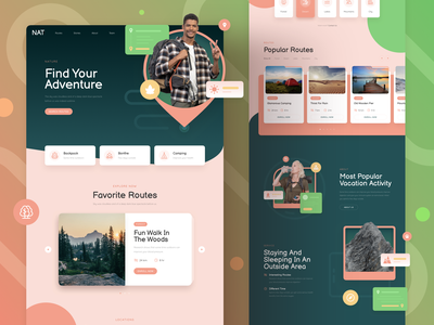 Nature Website design page landing responsive xd sketch figma ux ui camping eco nature