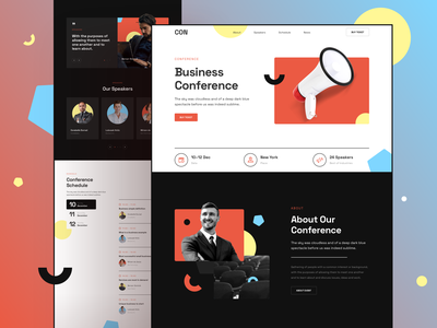 Conference Website page template responsive landing xd sketch figma ux meetup event conference ui