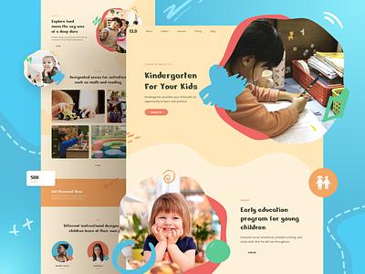 Children Kindergarten Website template design page responsive landing xd sketch figma ux ui children