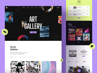 Gallery Art Exhibition Website template page responsive landing xd sketch figma ux ui exhibition art gallery