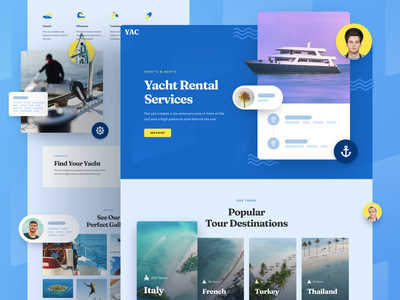 Yacht Rental Service design template responsive landing xd sketch figma ux ui service rental yacht