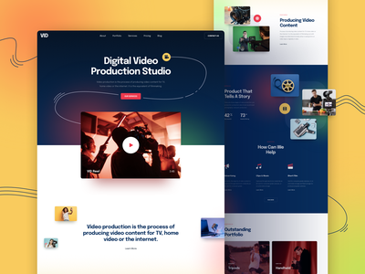 Video Website template design responsive landing xd sketch figma ux ui studio video