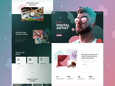 Artist Portfolio Website template design responsive landing xd sketch figma ux ui portfolio artist art
