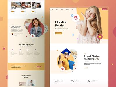 Kids Site page landing responsive xd sketch figma ux ui lesson learn education kids kid