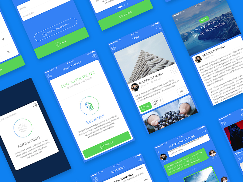 Blue Sky - Free iOS UI Kit psd kit ui ios free blue