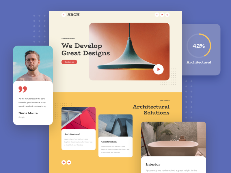Architecture Landing Page construction architect kit design responsive page landing xd sketch figma ux ui