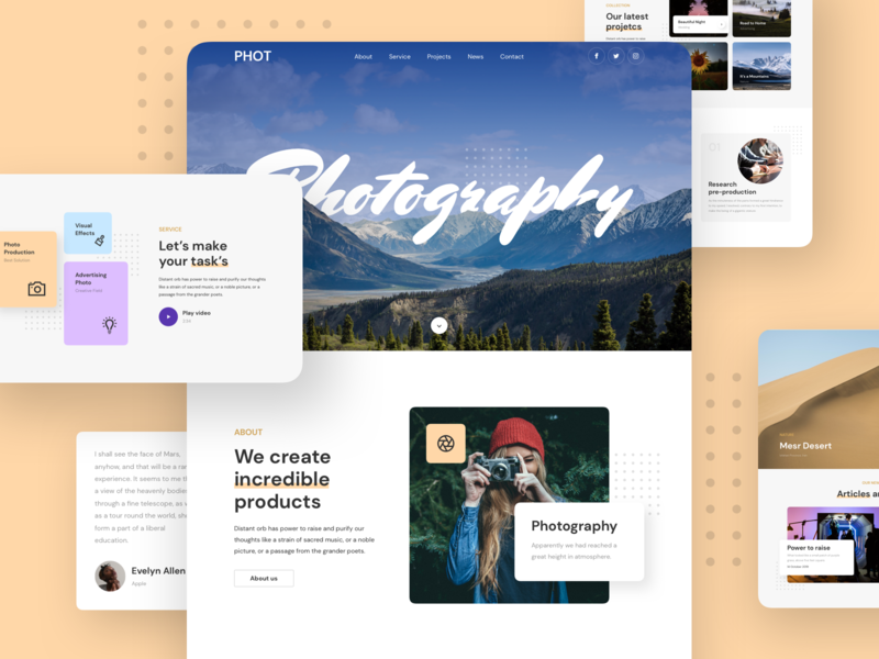 Photography Landing Page portfolio photography kit design responsive page landing xd sketch figma ux ui