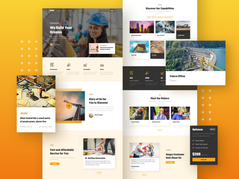 Construction Landing Page construction design responsive page landing xd sketch figma ux ui