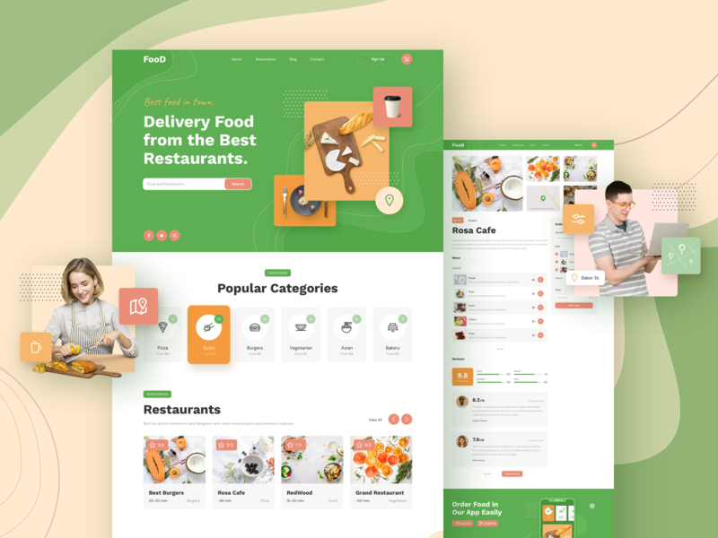 Food Delivery Responsive Template design page landing xd sketch figma ux ui template responsive delivery food