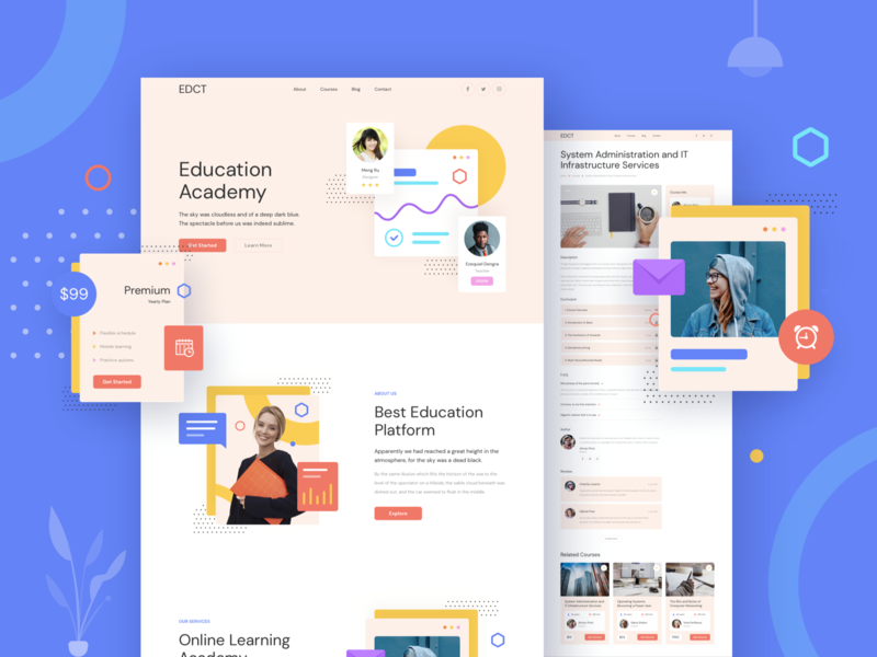 Education Responsive Template page design landing xd sketch figma ux ui education website learning template responsive education