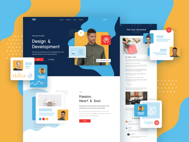 Personal Portfolio Responsive Template design page landing xd sketch figma ux ui template responsive cv portfolio personal