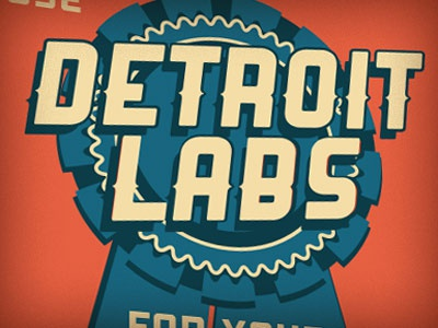 Detroit Labs building sign vintage blue ribbon detroit labs