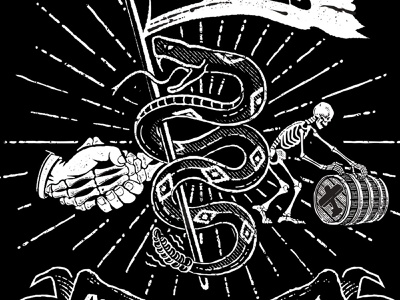 Shake, Rattle, Roll distressed vector rock n roll on black black and white illustration skeleton snake