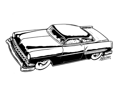 54 Chevy Full Kustom india ink black and white brush and ink