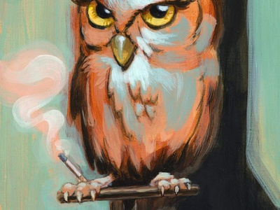 Comeuppance acrylic painting cigarette owl