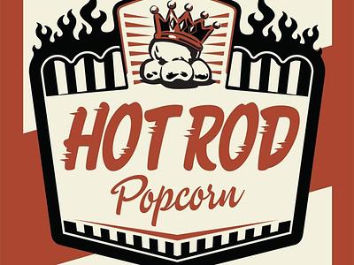 Hot Rod Popcorn Label branding illustration popcorn hot rod