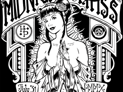 Midnight Mass Poster brush and ink poster car show hot rod
