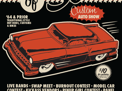 Sins of Steel Poster 50s typography cartoon illustration poster car show hot rod
