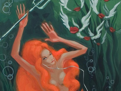 Reaper of the Deep pitchfork mermaid painting acrylic