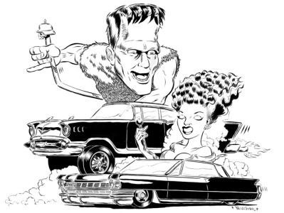 Ride of Frankenstein brush and ink hot rod frankenstein