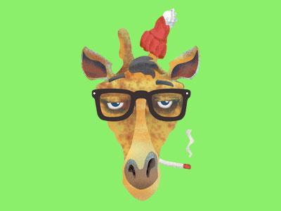 Hipster Giraffe illustration