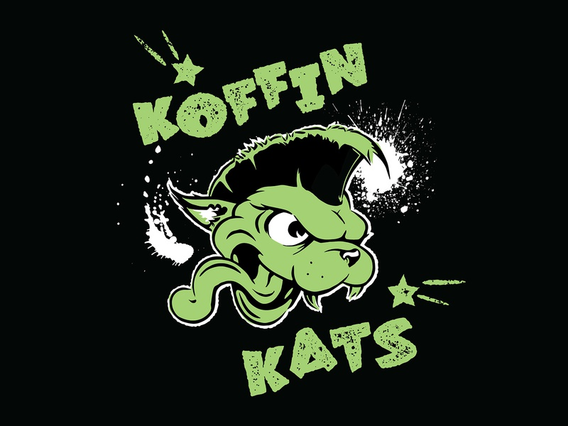 Koffin Kats Tshirt punk rockabilly cat illustration rock and roll tshirt koffin kats psychobilly