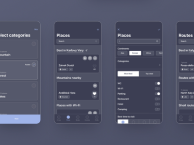 Travelling App wireframes