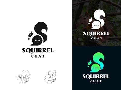 squirrel chat type identity design letters simple logotype logo branding