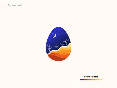 Desert night in egg design art artist branding identity simple clean interface vectorart creative design design app art illustration