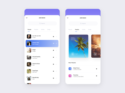 Adding a song... figma ios ux style clean mobile interface app design ui