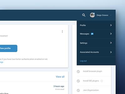 Dropdown menu app ui dashboard material design