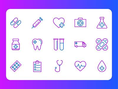 Medical health care pharmacist science healt health care symbol set symbol icon app flat vector art illustration design