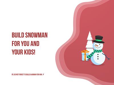 2 December - Snowman advent calendar christmas december typography design illustration gift box tree 2d flat art 2d art snowman