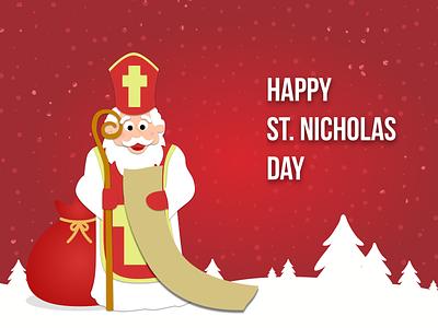 6 December - St. Nicholas Day christmas 2d design 2d art december advent calendar st. nicholas day st. nicholas illustration