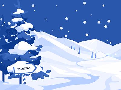 7 December - North Pole snow landscape landscape illustration snow snow flakes north pole december advent calendar vector illustration