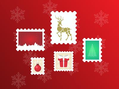10 December - Christmas Stamps christmas balls tree landscape deer christmas gift christmas advent calendar december stamp design illustration