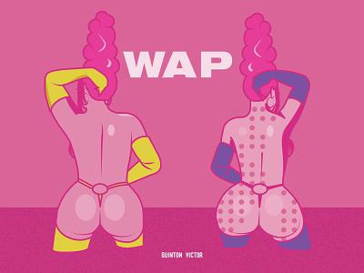 WAPPY rap music video megan thee stallion cardi b fashion illustration vector design illustration