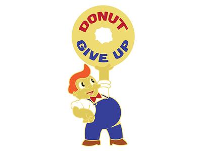 Donut Give Up pin design pin enamel pin illustration vector donut give up donuts lard lad pint up simpsons