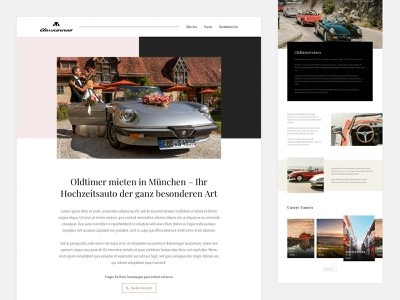 UI Design for a vintage car booking service italy service wedding tourist website design luxary car branding ui