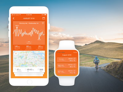 Cycling App Concept iwatch fitness cycling iphone app ui