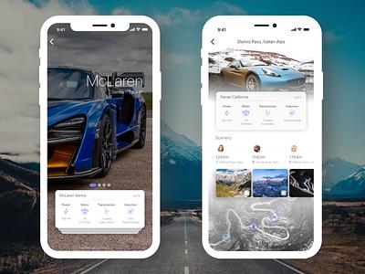 Supercar Rental & Routes App car booking car app routes car rental supercars cx iphone app ui ux