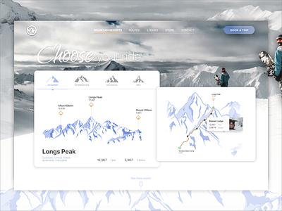 Snow Resorts Routes - Website Concept route web design website website concept snow design ui ux