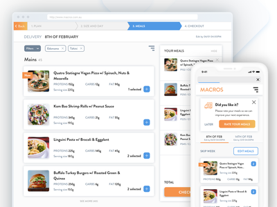 Macros - Healthy Food delivery food delivery service food delivery foodie illustration responsive responsive website responsive design checkout sport healthy delivery service delivery ecommerce user experience user interface design ui ux