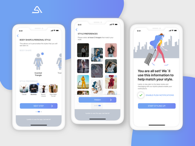 Style At Iz App - Onboarding/Setup onboarding inspiration ecommerce app user centered design stylist fashion blogger wardrobe artificial intelligence machine learning fashion app assistant chatbot cx user experience user interface design iphone app ui ux