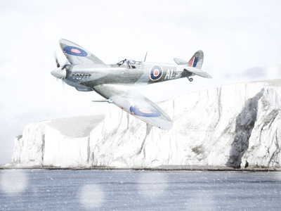 Spitfire Snow dover winter plane raf photoshop retouch snow spitfire